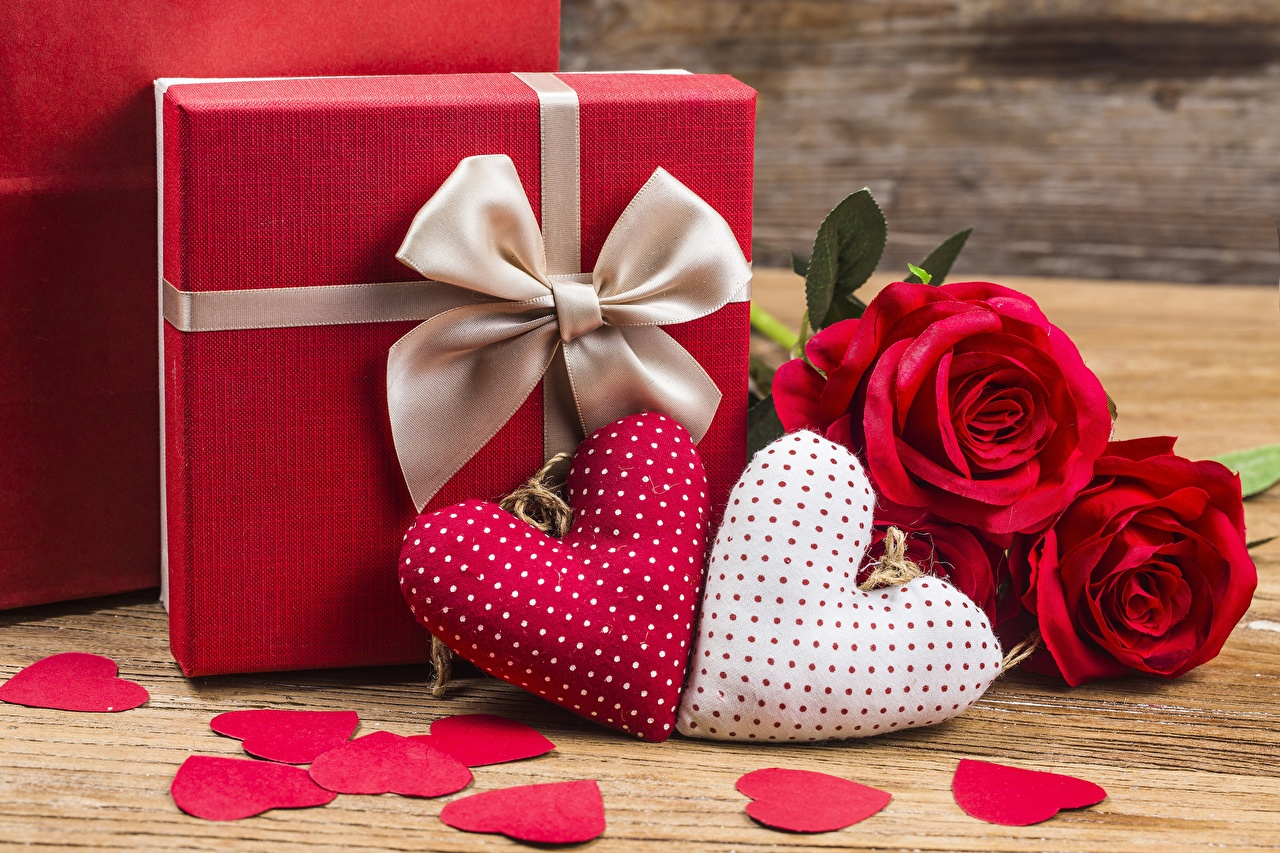 Image Valentine's Day Heart Gifts Flowers Bowknot present bow