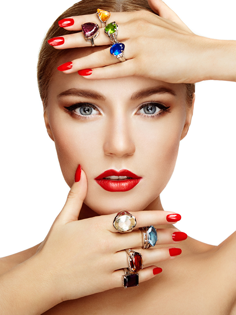 Desktop Wallpapers Manicure Makeup Face female jewelry ring Hands Staring Red lips White background  for Mobile phone Girls young woman Ring Glance