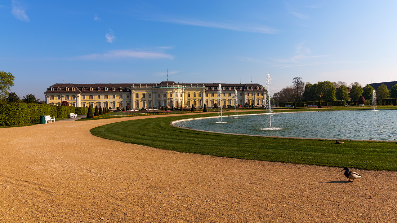 Desktop Wallpapers Germany Fountains Ludwigsburg Palace Pond Parks Cities park