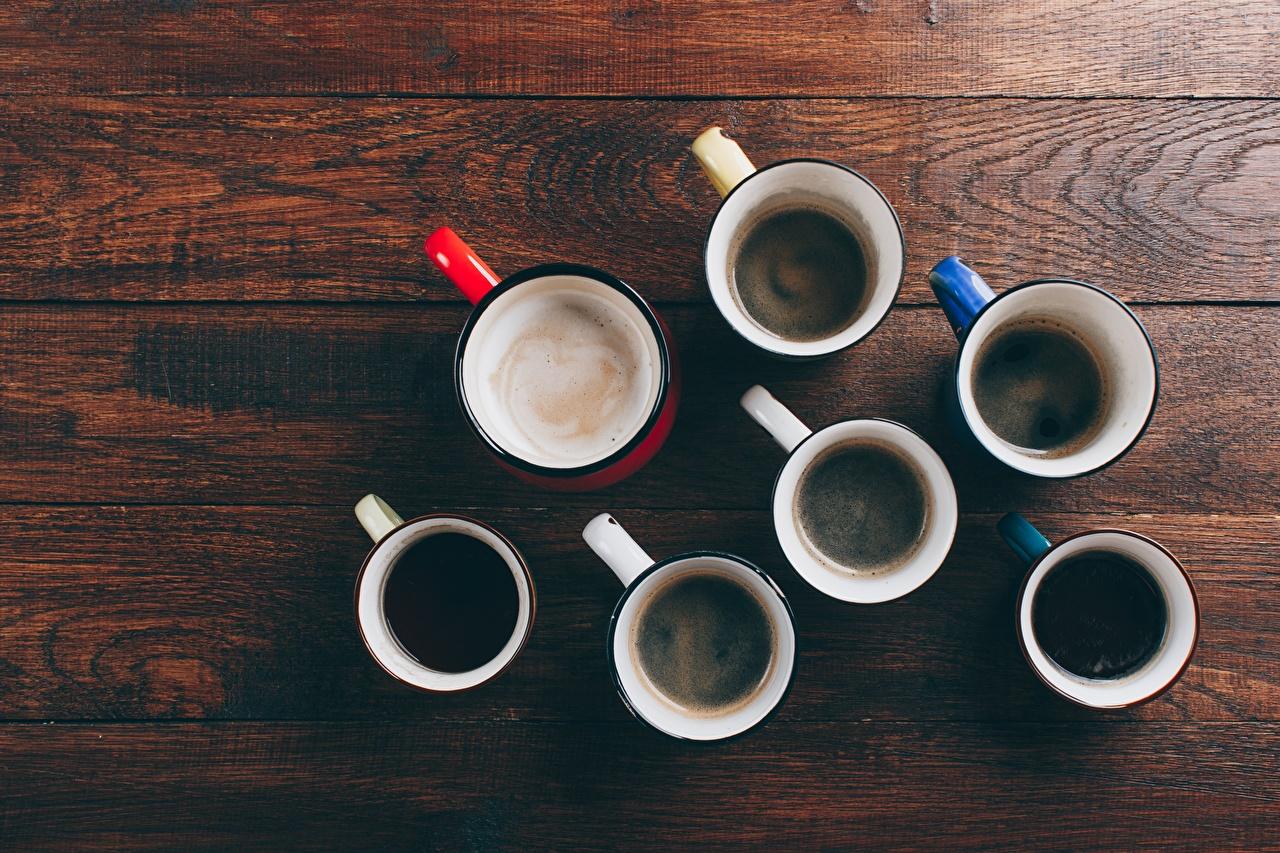Bilder Kaffee Becher Von oben Lebensmittel Viel Bretter das Essen