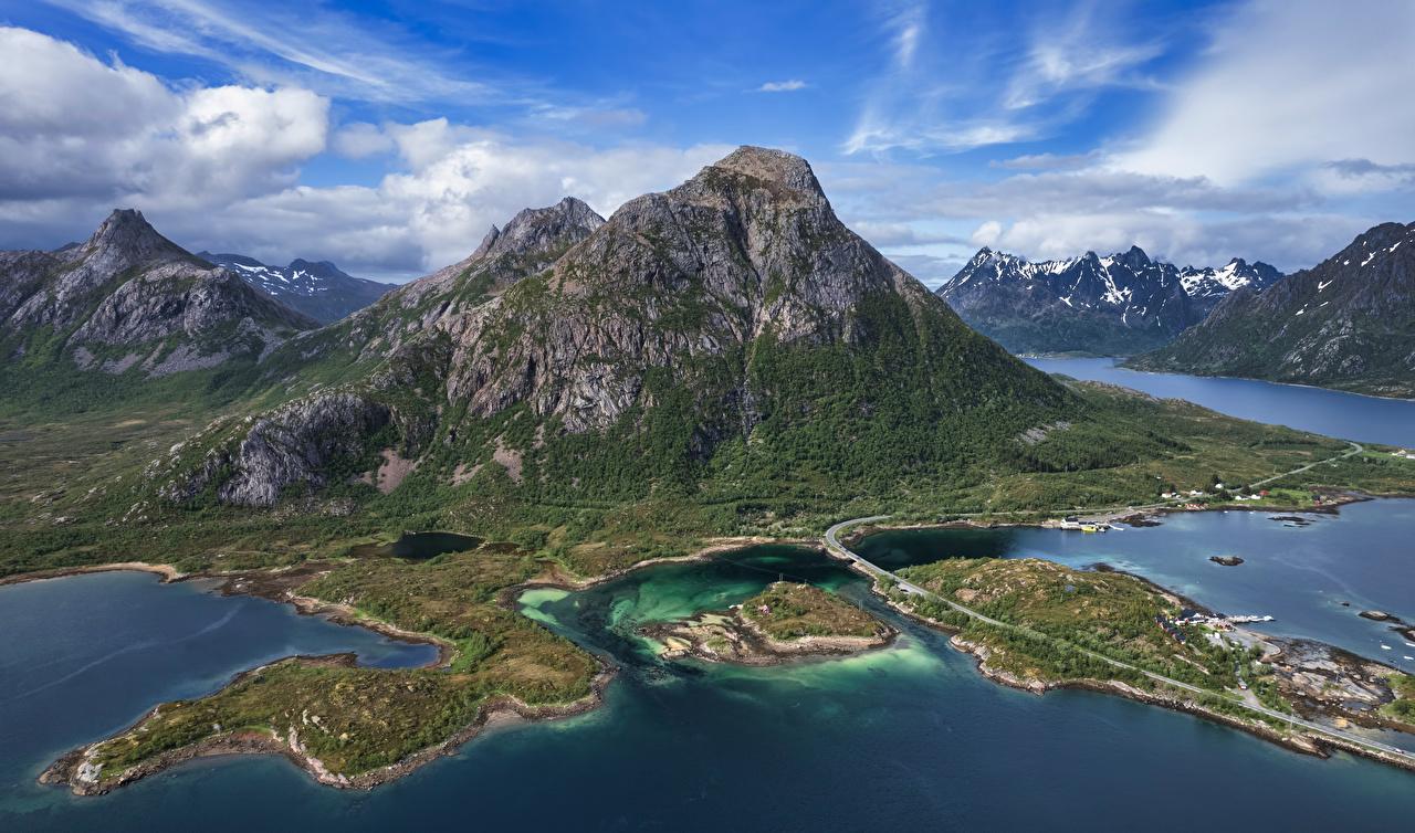 Bilder Lofoten Norwegen Laupstad Fjord Natur Gebirge Wolke Berg