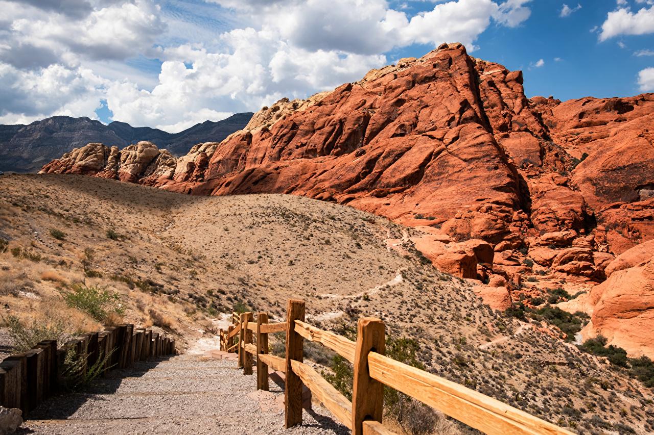 Photos USA Red Rock Canyon, Nevada Nature Mountains Clouds Crag Cliff mountain