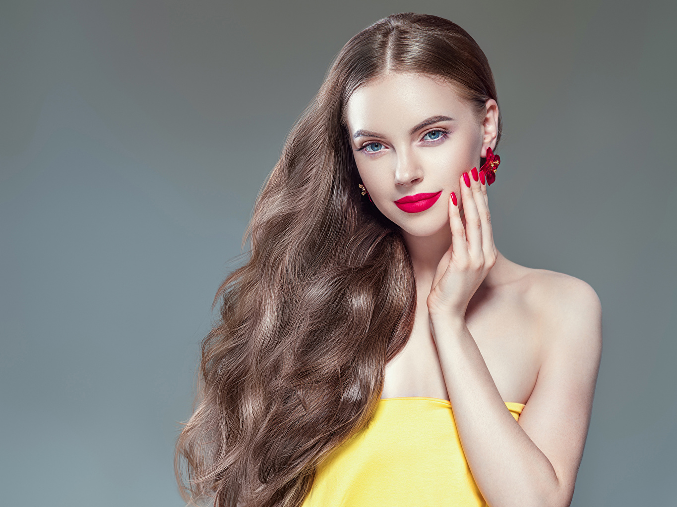 Pictures Brown haired Manicure Hair Girls Hands Red lips Gray background