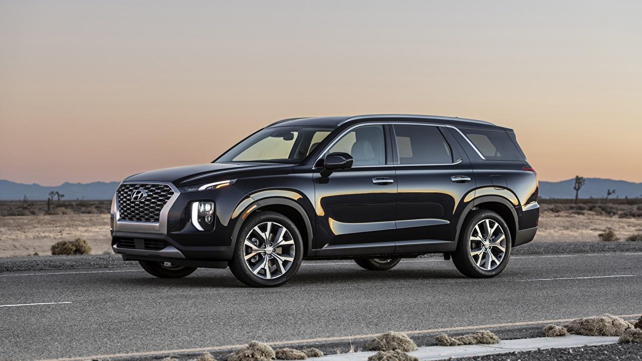 Desktop Wallpapers Hyundai CUV Palisade Black Cars Side Metallic Crossover auto automobile