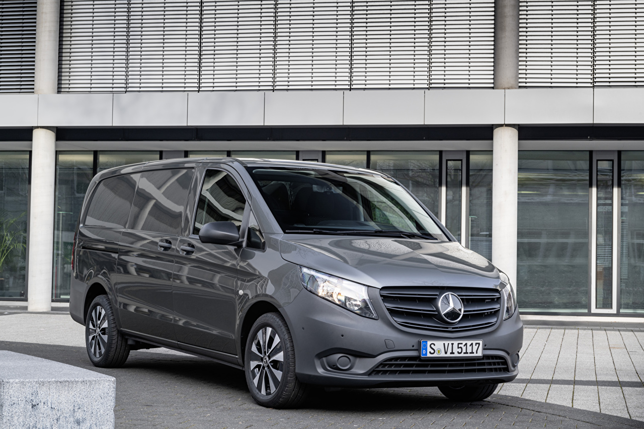 Pictures Mercedes-Benz 2020 Vito Panel Van Worldwide Minivan gray Cars Grey auto automobile