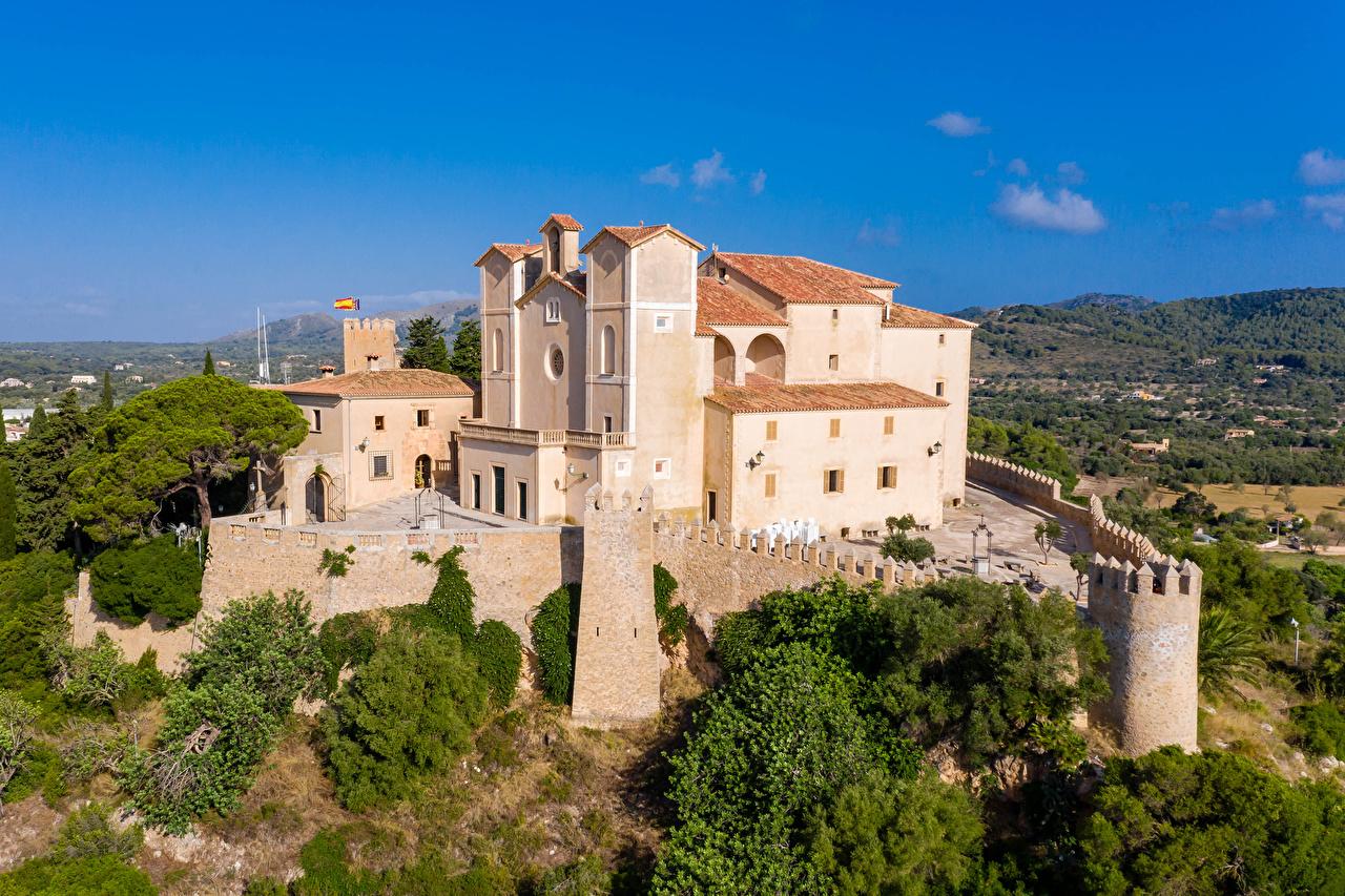 Image Monastery Majorca Mallorca Spain Sant Salvador Fence Cities Building Houses