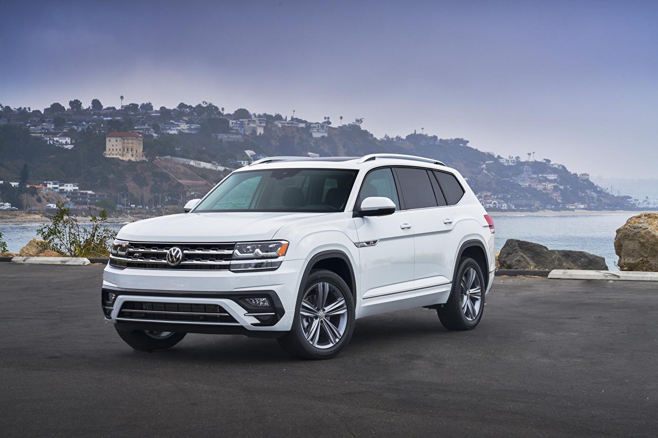 Afbeeldingen Volkswagen Cross-over auto Atlas V6 4MOTION R-Line, 2017 Wit Auto Metallic witte auto's automobiel