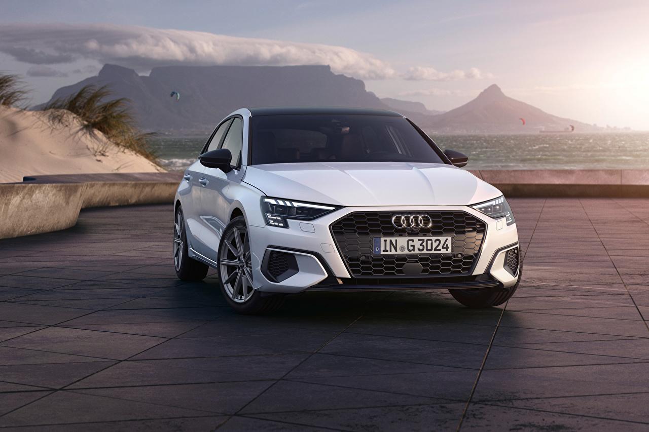 Pictures Audi A3 Sportback 30 g-tron, 2020 White Cars Front Metallic auto automobile