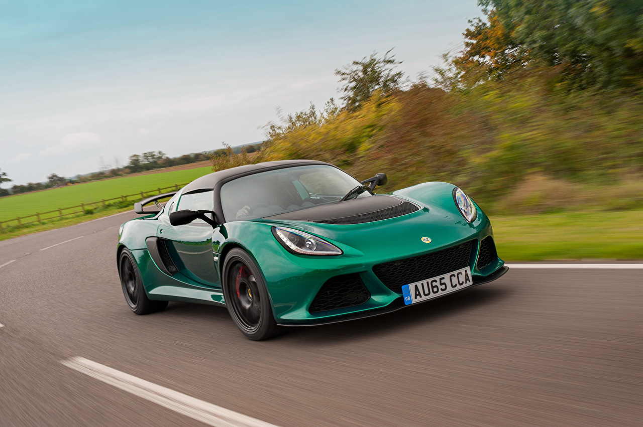 Pictures Lotus Exige Sport Coupe Green Motion automobile moving riding driving at speed Cars auto