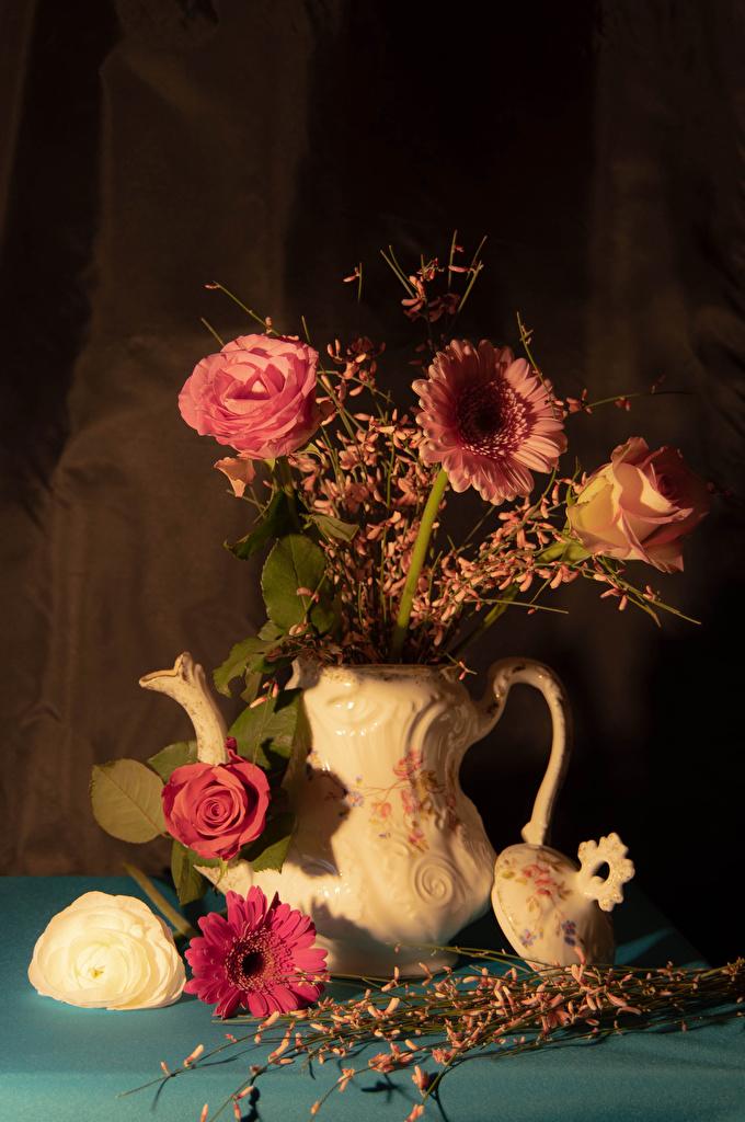 Images Roses Gerberas flower Vase  for Mobile phone rose gerbera Flowers