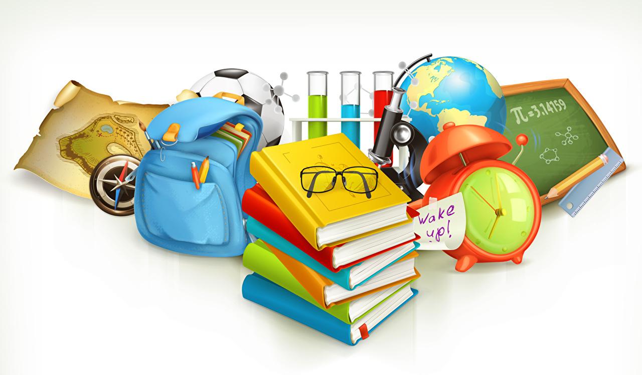 Hintergrundbilder Schule Globus Uhr Buch Brille Handtasche Vektorgrafik Weißer hintergrund Bücher