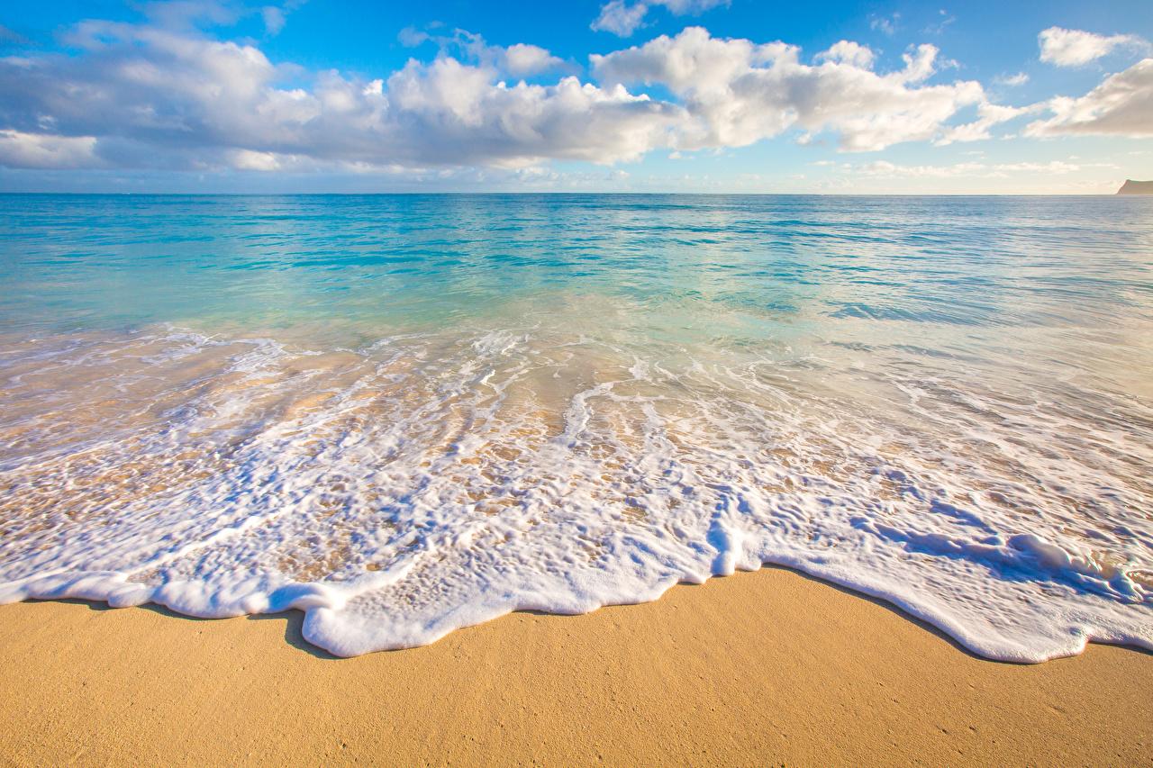 壁紙 熱帯 風景写真 海岸 波 大洋 ハワイ州 砂 雲 地平線
