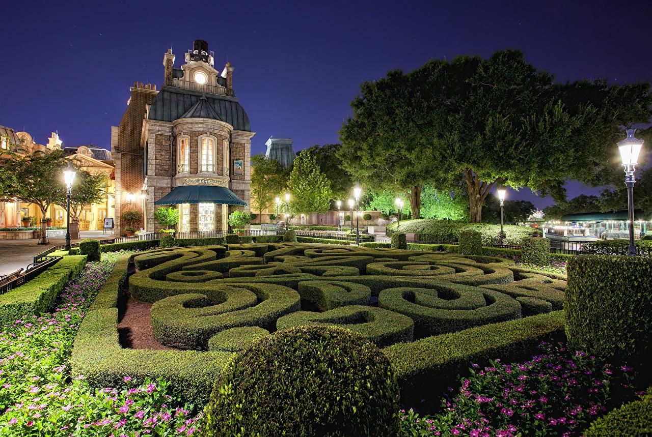 Hintergrundbilder Anaheim Kalifornien Disneyland USA HDR Park Nacht Straßenlaterne Städte Strauch Gebäude Design Vereinigte Staaten HDRI Haus
