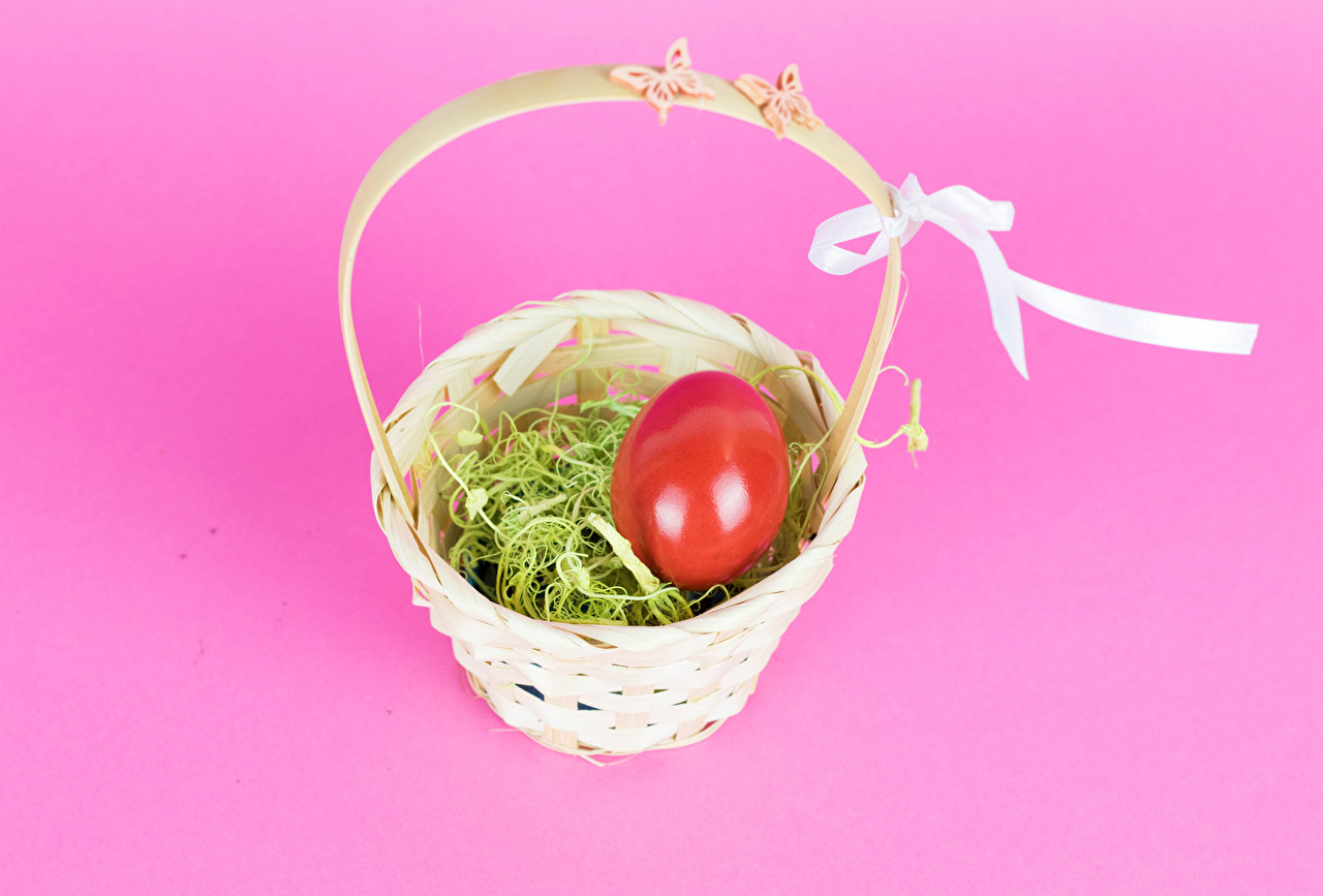 Images Easter bow knot Eggs Food Pink background Wicker basket Bowknot egg