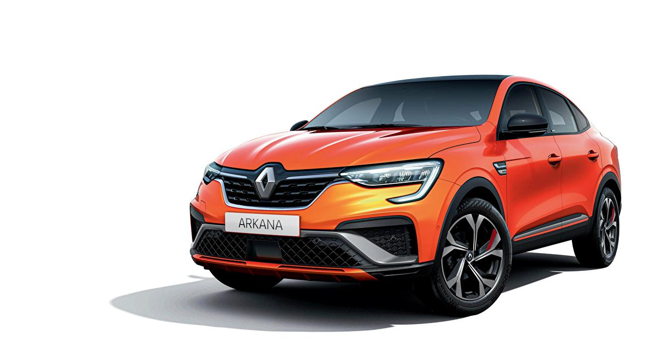 Picture Renault CUV Arkana R.S. Line, 2020 Orange Metallic automobile White background Crossover Cars auto