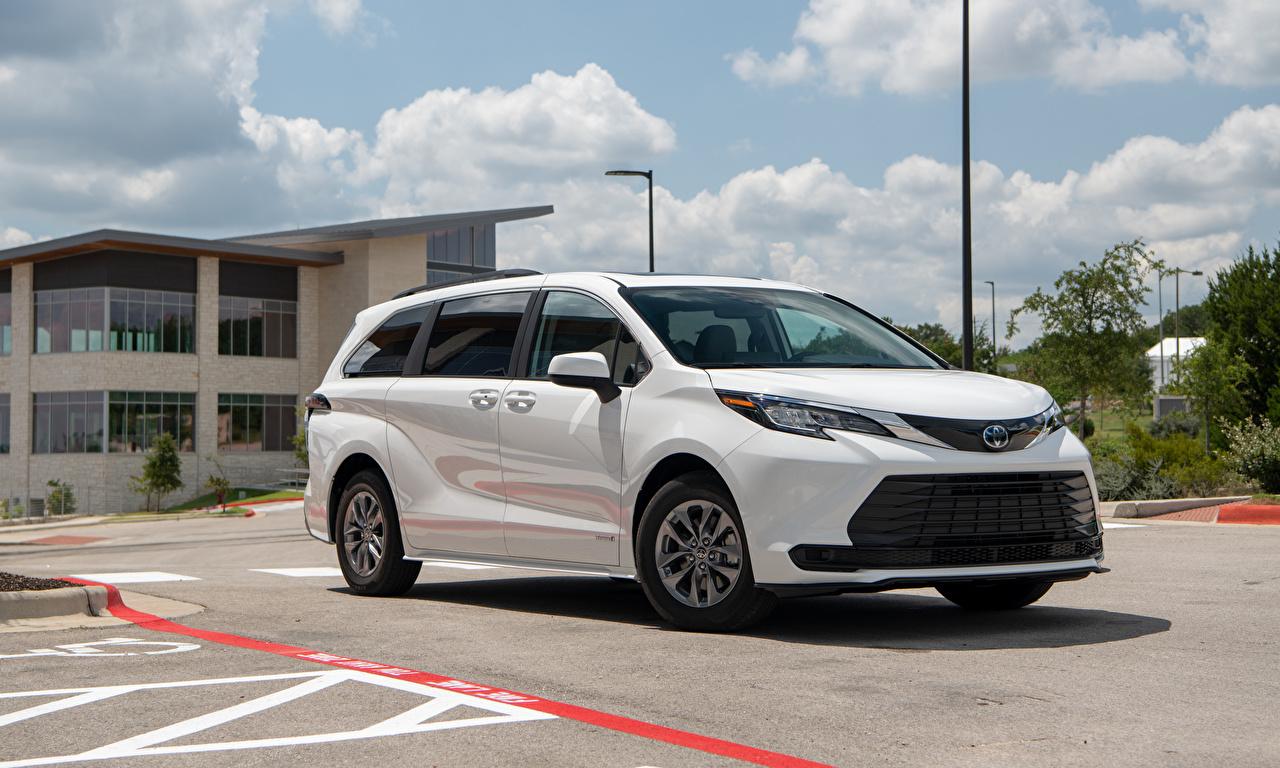 Photos Toyota Estate car Sienna LE, 2020 Minivan White Metallic automobile Station wagon Cars auto