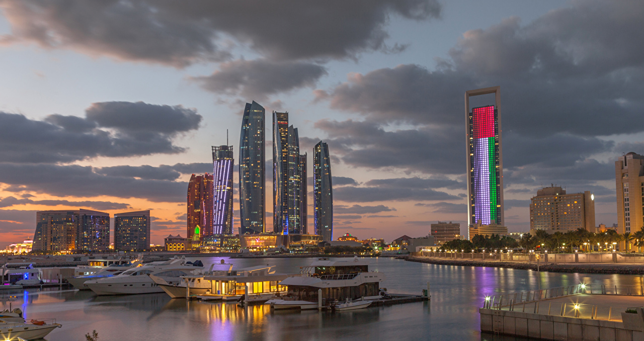 Picture Emirates UAE Abu Dhabi Bay Berth Evening Skyscrapers Houses Cities Pier Marinas Building