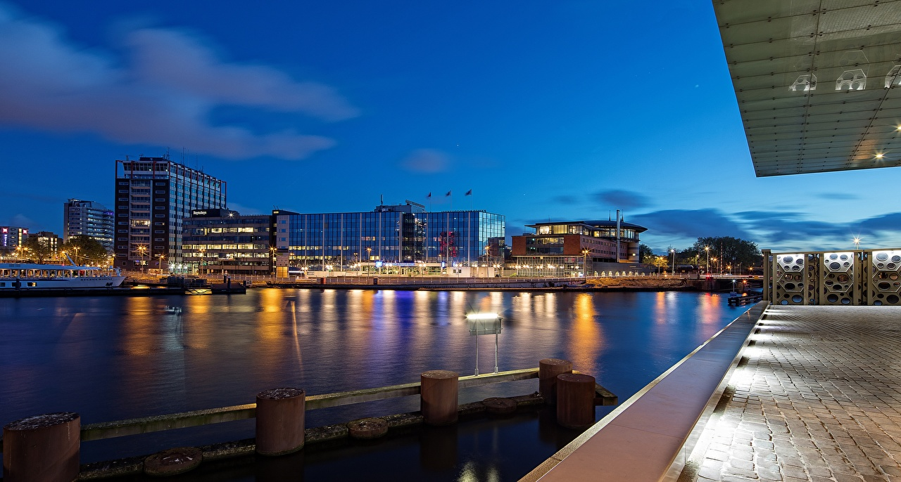 Photos Amsterdam Netherlands Canal Evening Cities