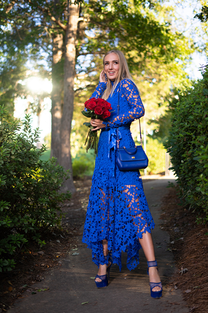 Desktop Wallpapers Olga Clevenger Blonde girl frock young woman Bouquets rose Smile  for Mobile phone gown Dress Girls female bouquet Roses