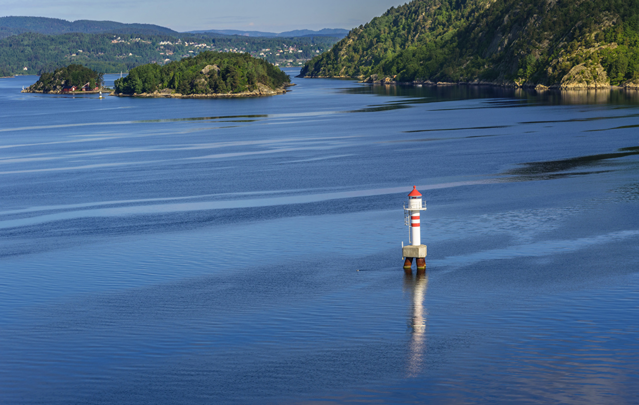 Фотография Осло Норвегия маяк Природа Остров залива Маяки Залив заливы