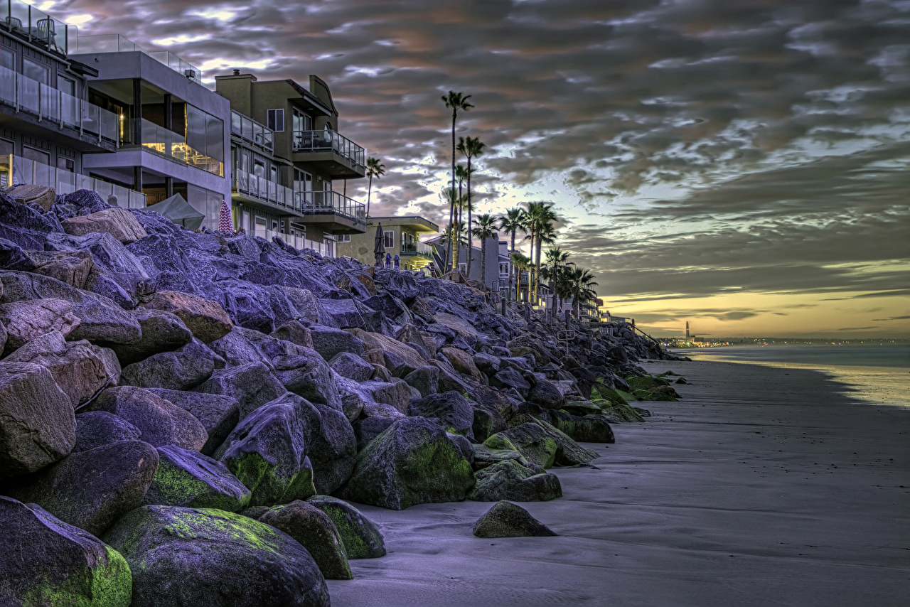 Foto Kalifornien USA Oceanside HDRI Stein Abend Küste Haus Städte Vereinigte Staaten HDR Steine Gebäude