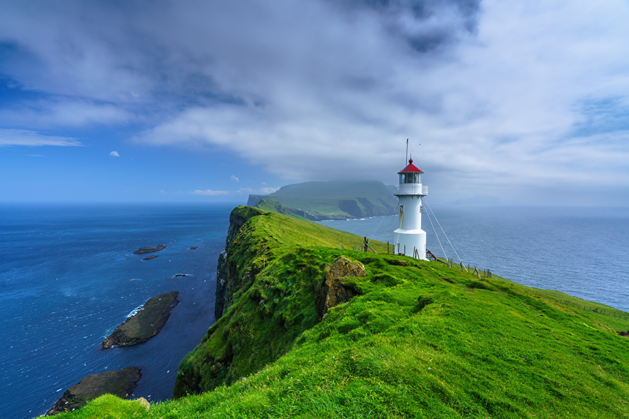Picture Denmark Holmur Lighthouse, Mykines, Faroe Islands Crag Ocean Nature Lighthouses Island Rock Cliff