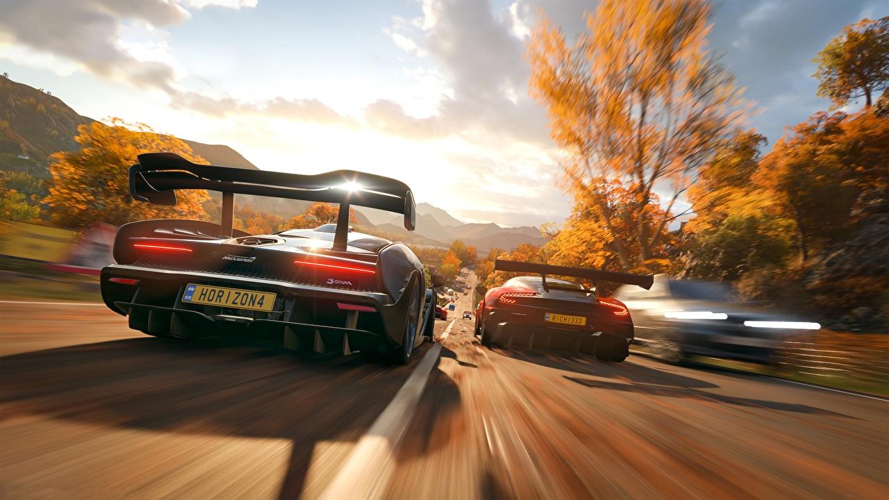 Desktop Wallpapers Forza Horizon 4 McLaren Aston Martin 2018 Senna Vulcan Games Motion Back view moving riding driving at speed vdeo game