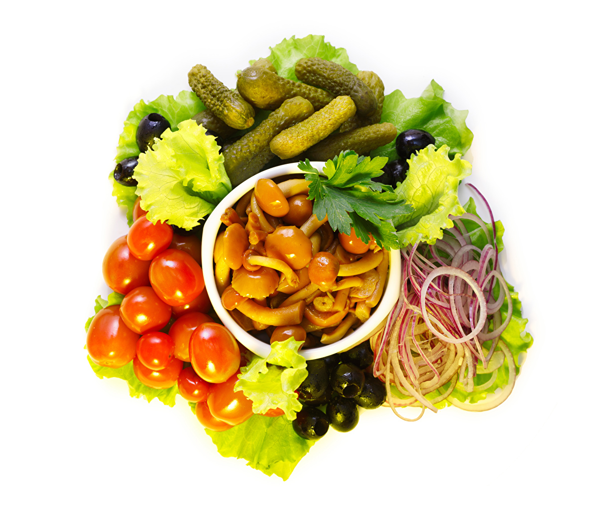 Image Olive Onion Tomatoes Cucumbers Mushrooms Food Vegetables White background