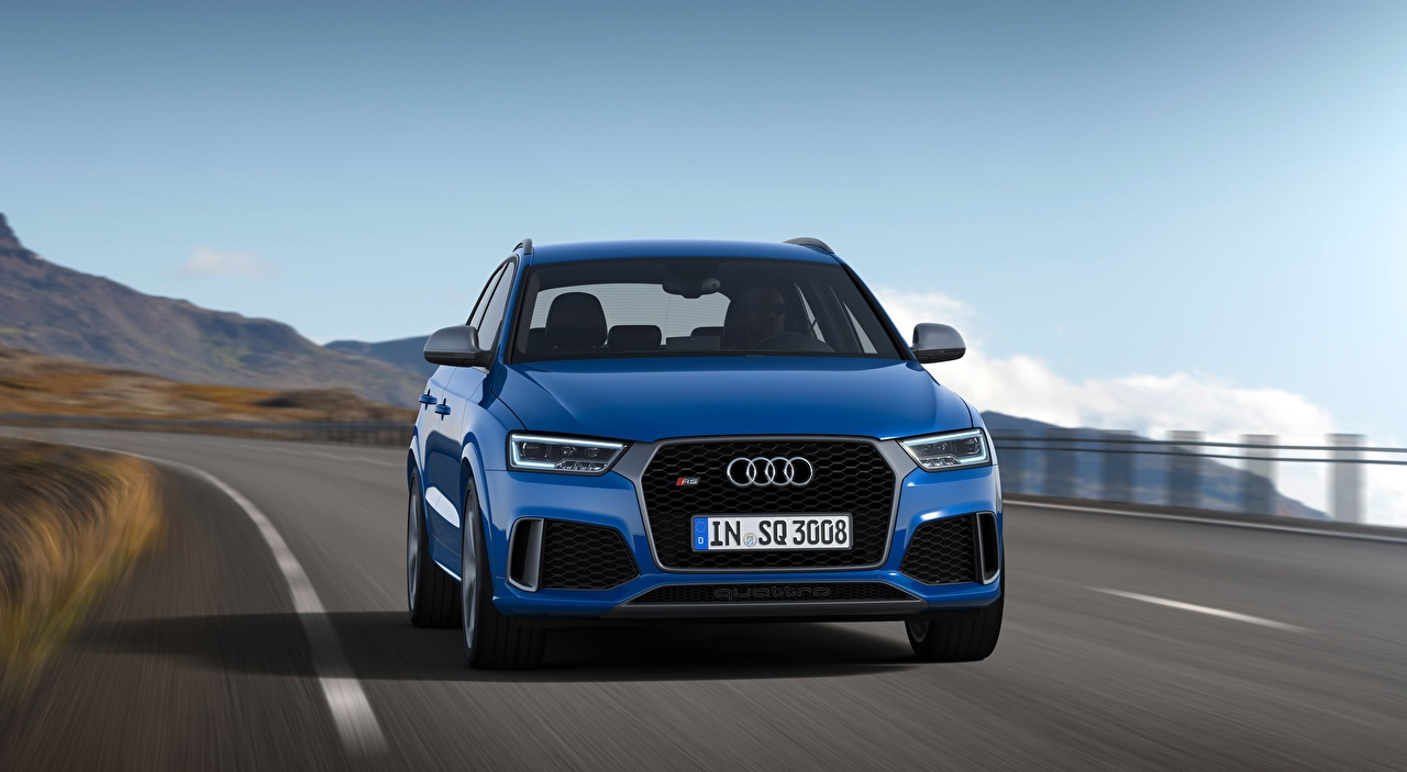 Picture Audi Crossover blurred background Motion auto Front CUV Bokeh moving riding driving at speed Cars automobile