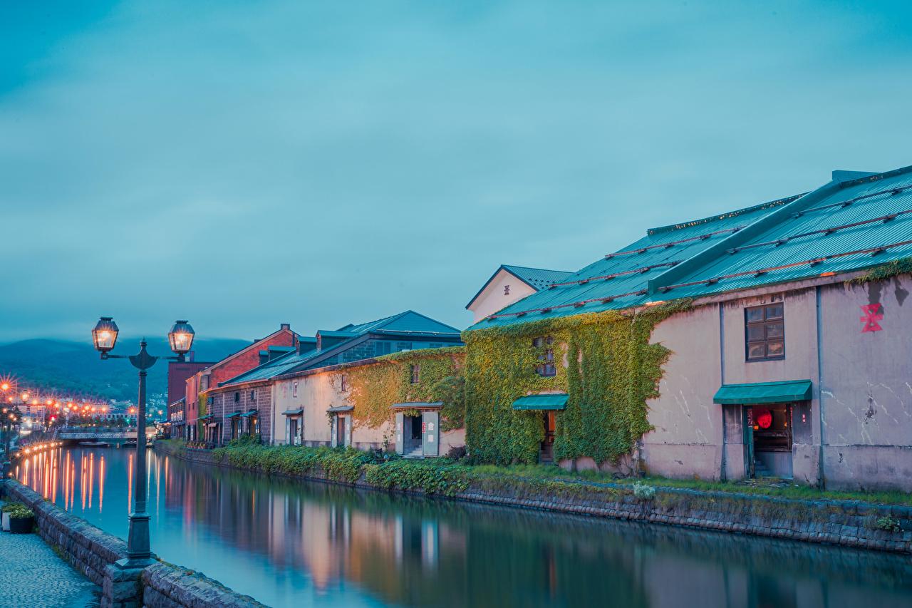 Desktop Wallpapers Japan Hokkaido Rivers Evening Street lights Houses Cities river Building