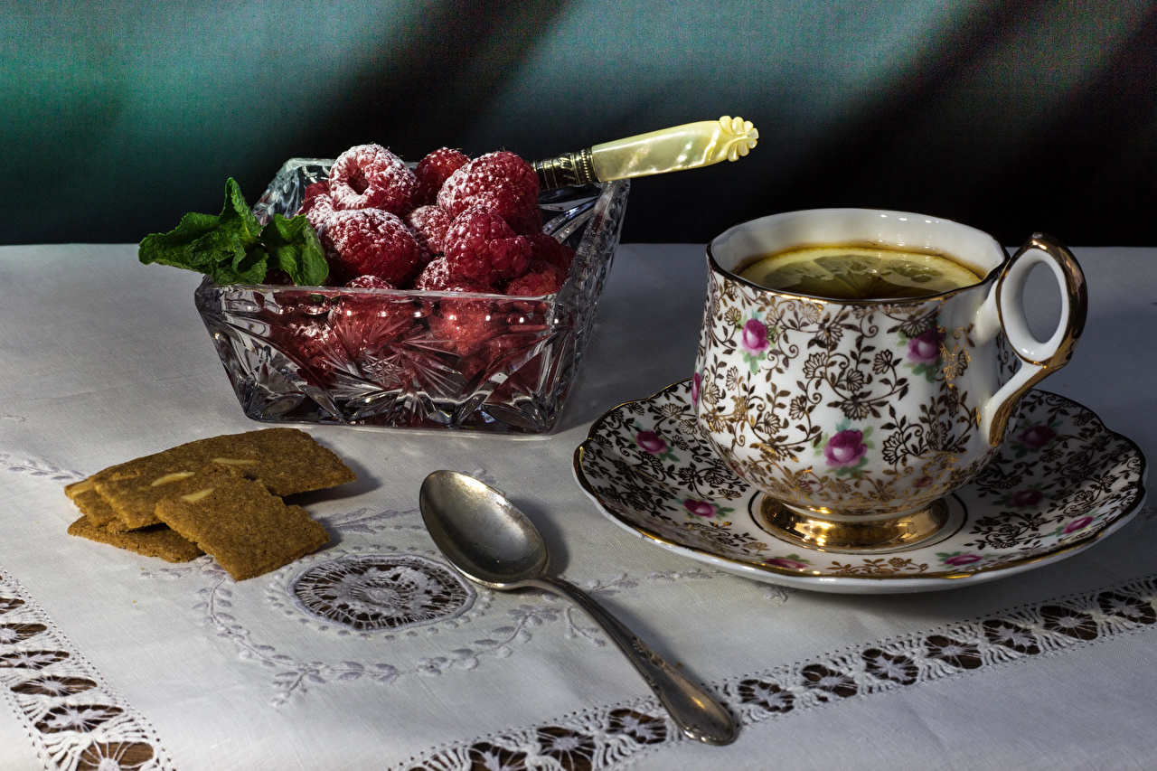 Picture Tea Powdered sugar Raspberry Cup Food Berry Spoon