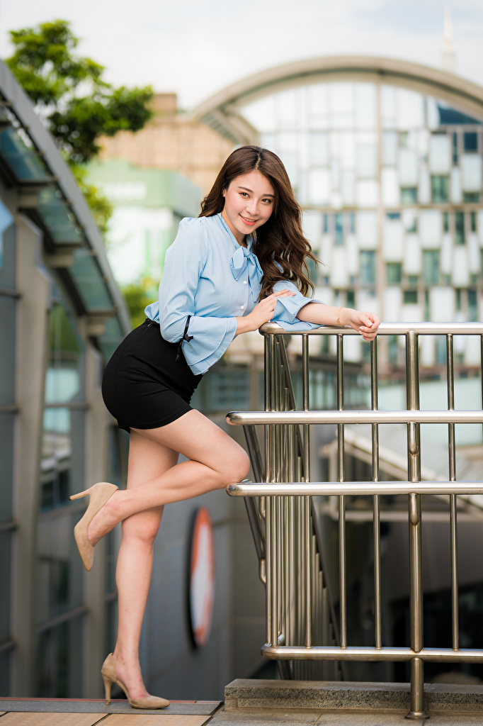 Wallpaper Skirt Smile Bokeh Pose Blouse young woman Legs Asian Glance  for Mobile phone blurred background posing Girls female Asiatic Staring