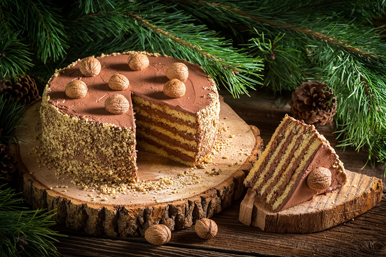 Image Christmas Cakes Piece Food Nuts New year Torte