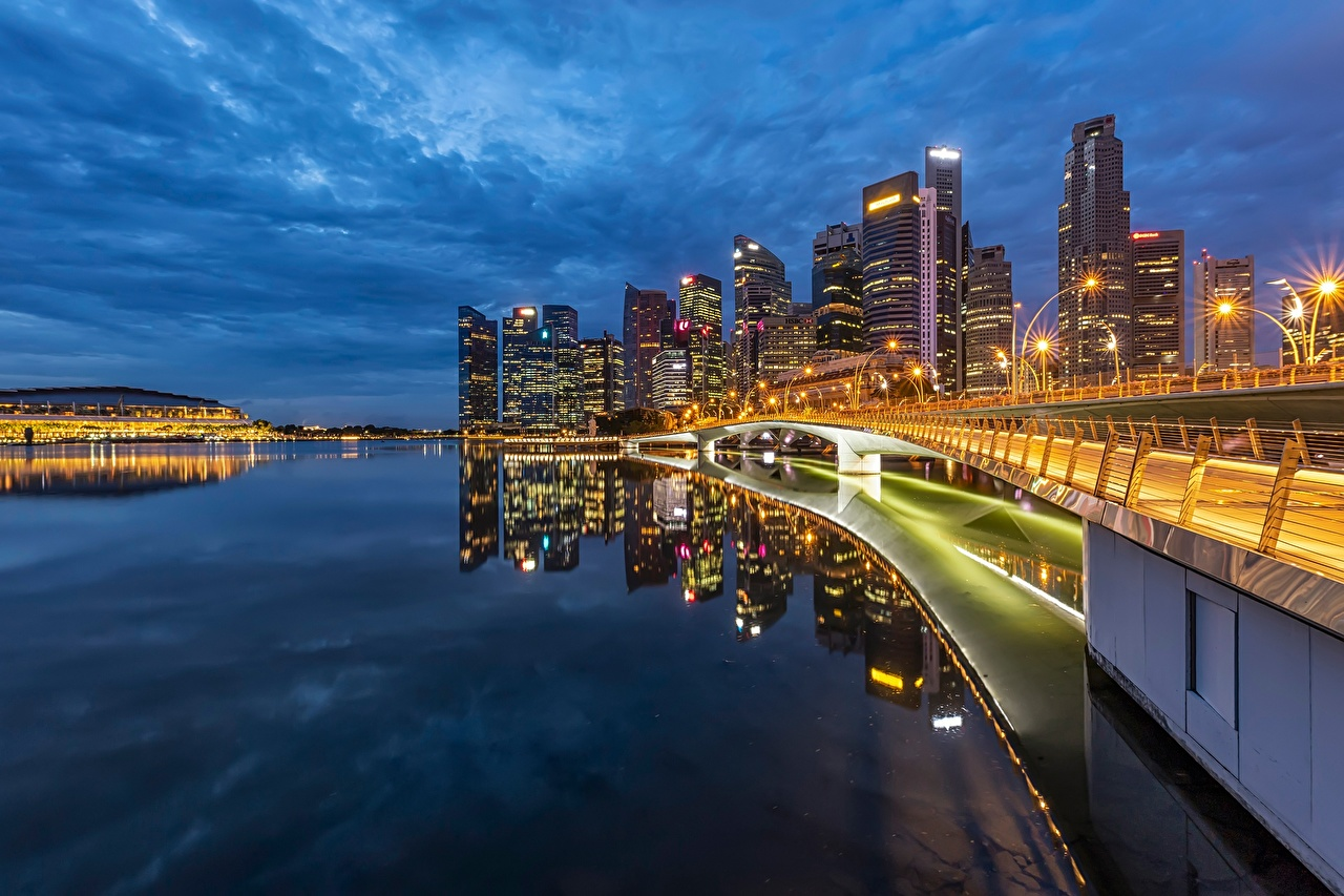 Photos Singapore bridge Bay Coast Evening Houses Cities Bridges Building
