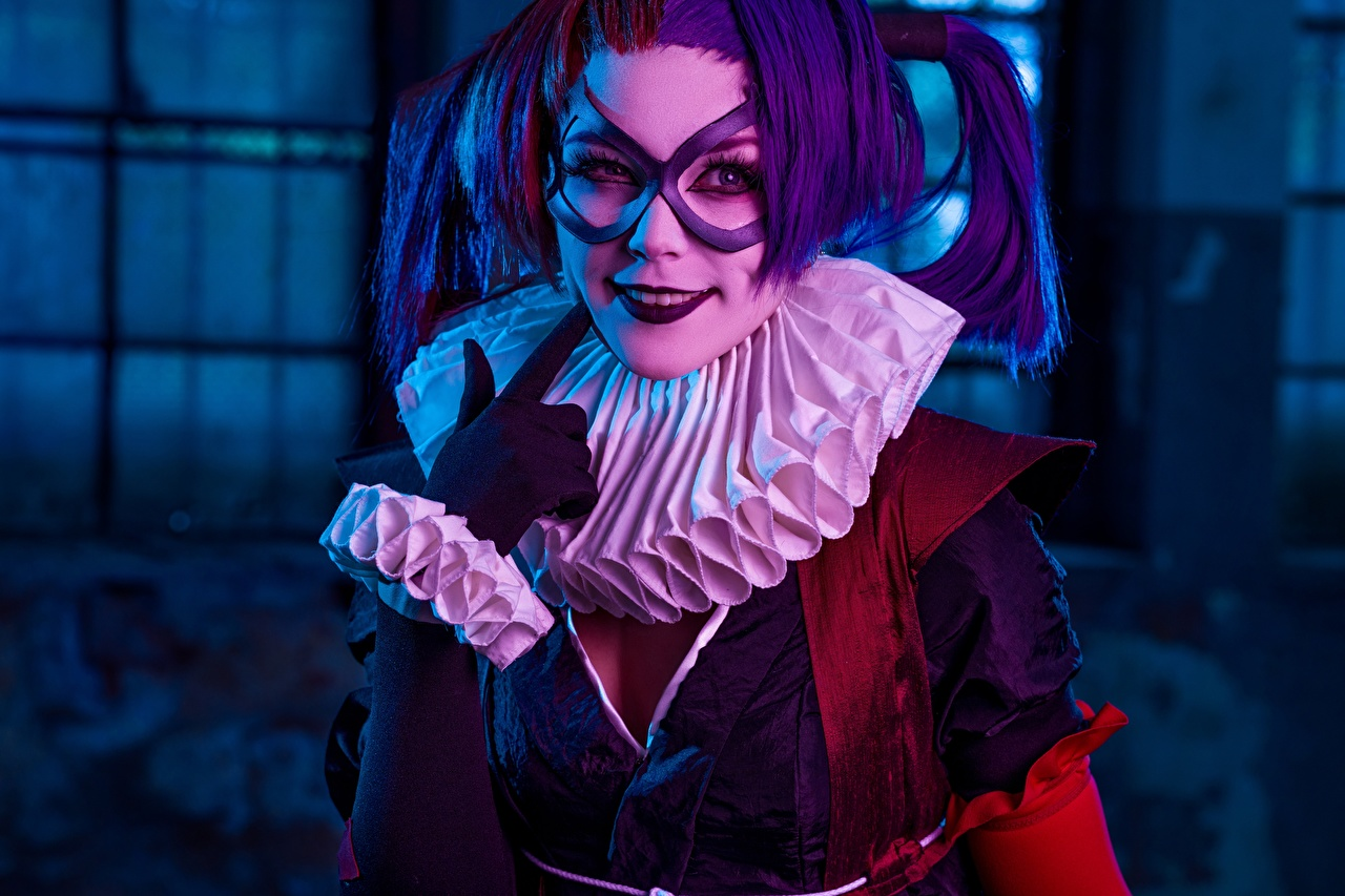 Pictures Harley Quinn hero Smile Cosplay Batman Ninja female cosplayers costume play Girls young woman