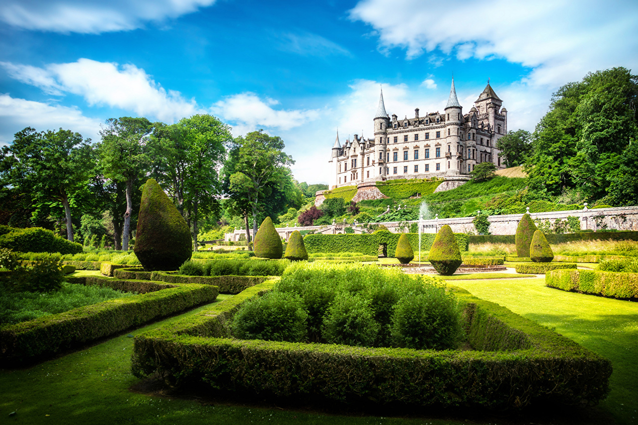 Pictures Scotland Dunrobin castle Bush Cities Landscape design Design Castles Shrubs