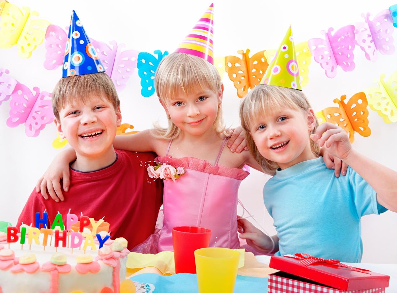 Picture Birthday Little girls Boys Joy Smile child Hat Holidays happy joyful Children