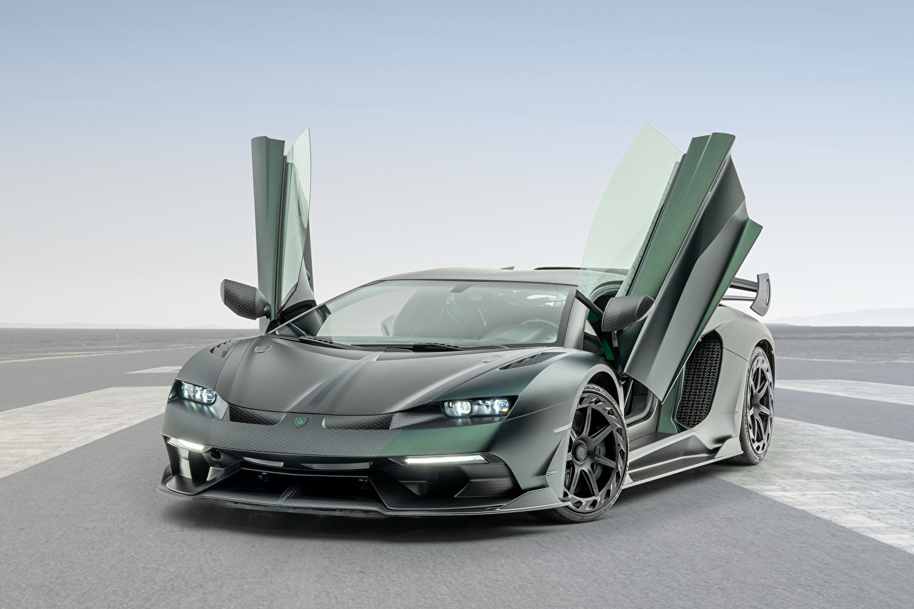 Fotos von Lamborghini Kohlefaser Offene Tür Aventador, Mansory, 2020, SVJ, Cabrera Grün Autos Karbon Carbon auto automobil
