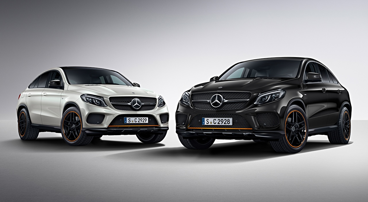 Wallpaper Mercedes-Benz Crossover GLE 350 d 4MATIC, Coupe, OrangeArt Edition, 2017 2 Black White auto Gray background CUV Two Cars automobile