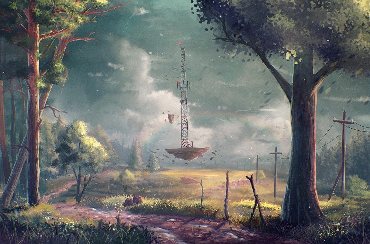 Afbeeldingen Natuur Pad weg Fantasy Grasland Hemelgewelf Gras Fantastische wereld Bomen Wolken smalle weg Een boom