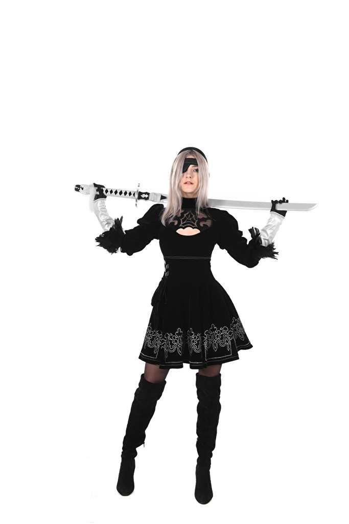 Photo Girls Eva Elfie Hands Pirates Wearing boots Swords White background Legs Uniform Blonde girl Glove posing Cosplay iStripper  for Mobile phone female young woman Pose cosplayers costume play