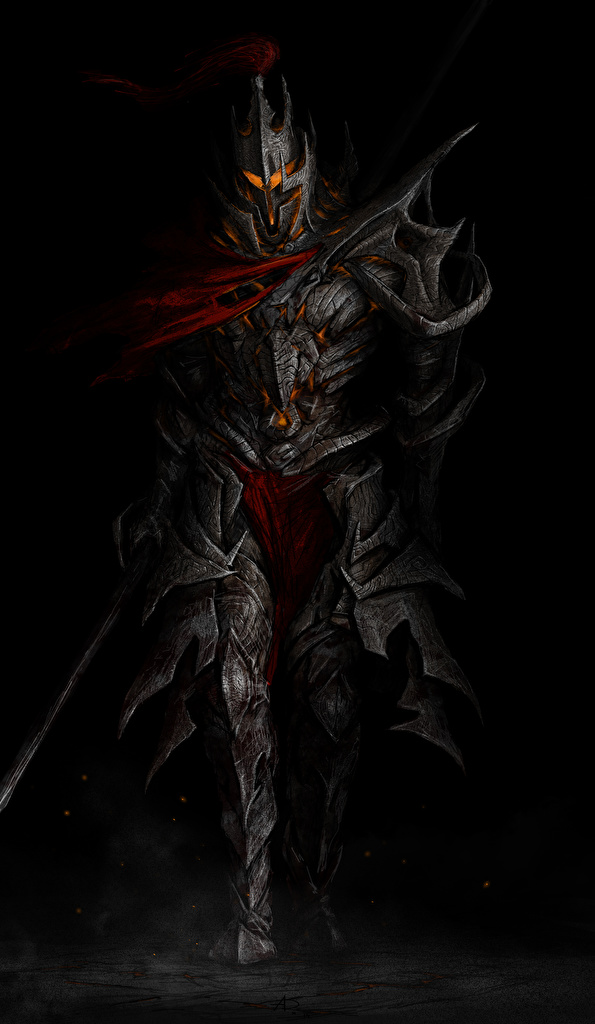 Fantasy Knight In Black Armor Art