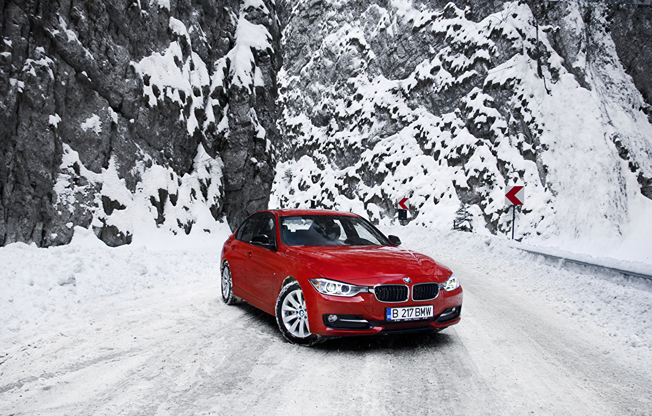 Photo BMW 3 F30 320d Red Snow Cars auto automobile