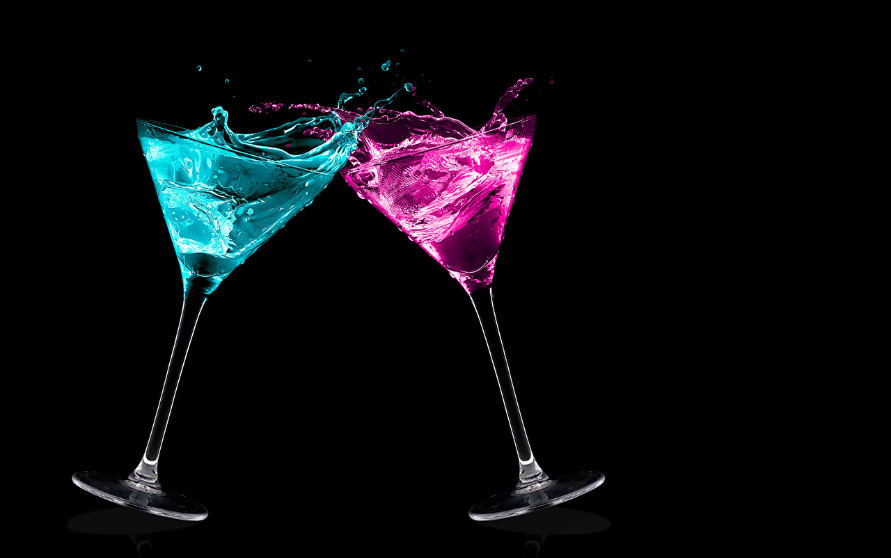 Desktop Wallpapers 2 Food Cocktail Stemware Black background Two Mixed drink