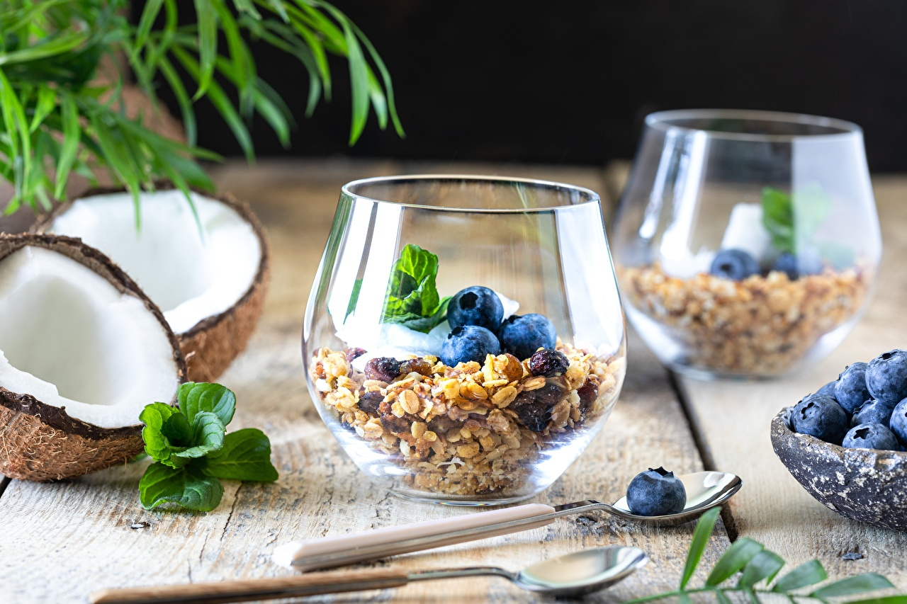 Wallpaper Coconuts Blueberries Highball glass Food Spoon Muesli