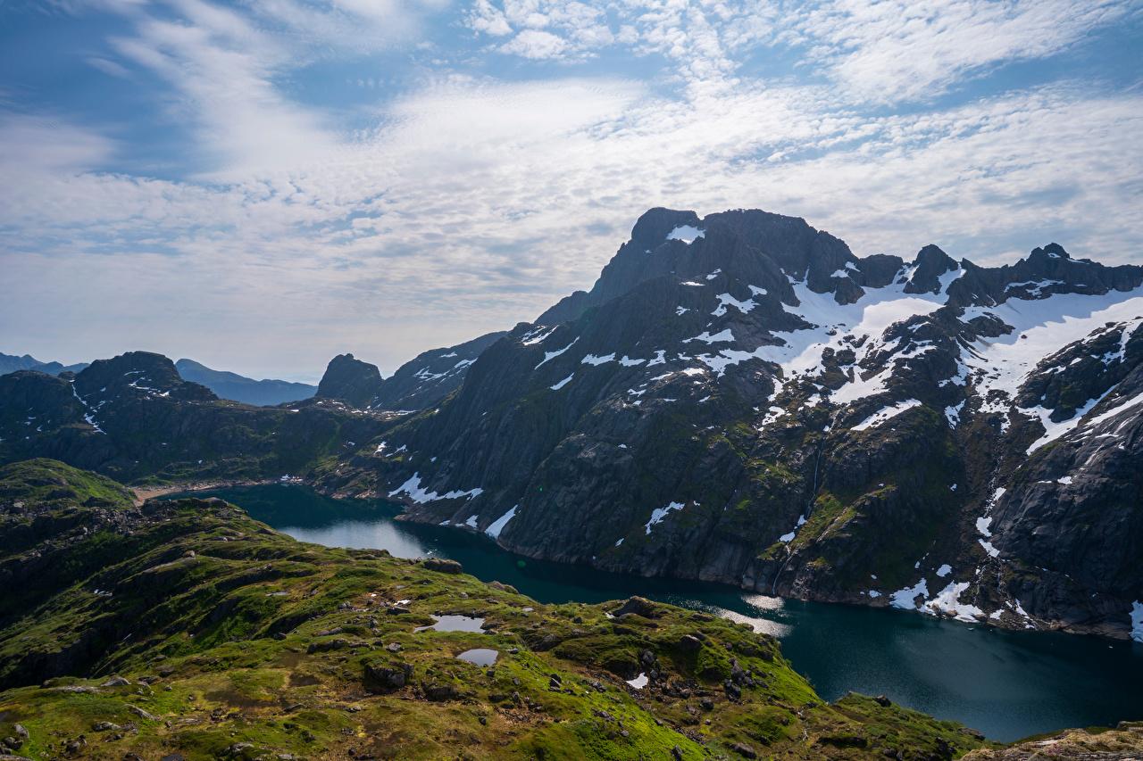 Wallpaper Lofoten Norway Nature mountain Lake Snow Clouds Mountains