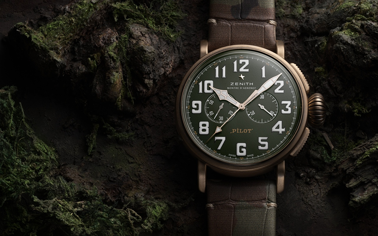 Bilder Zenith Pilot Type 20 Taschenuhr Uhr Zifferblatt hautnah Nahaufnahme Großansicht