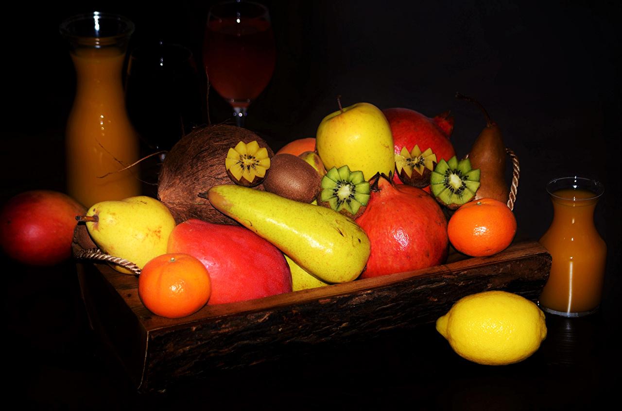 Foto Mandarine Fruchtsaft Kiwi Birnen Zitrone Granatapfel Obst Lebensmittel Saft Kiwifrucht Chinesische Stachelbeere