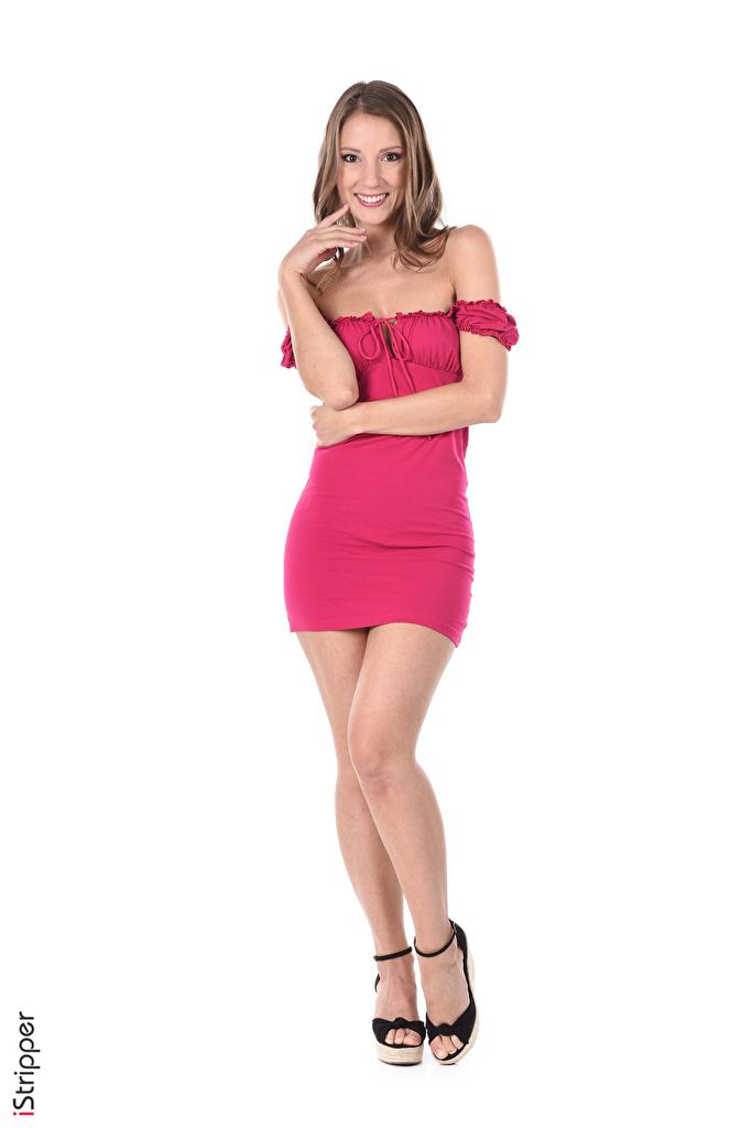 Bilder Miluniel Louis Braunhaarige Lächeln iStripper Mädchens Bein Hand Weißer hintergrund Kleid Stöckelschuh  für Handy Braune Haare junge frau junge Frauen High Heels