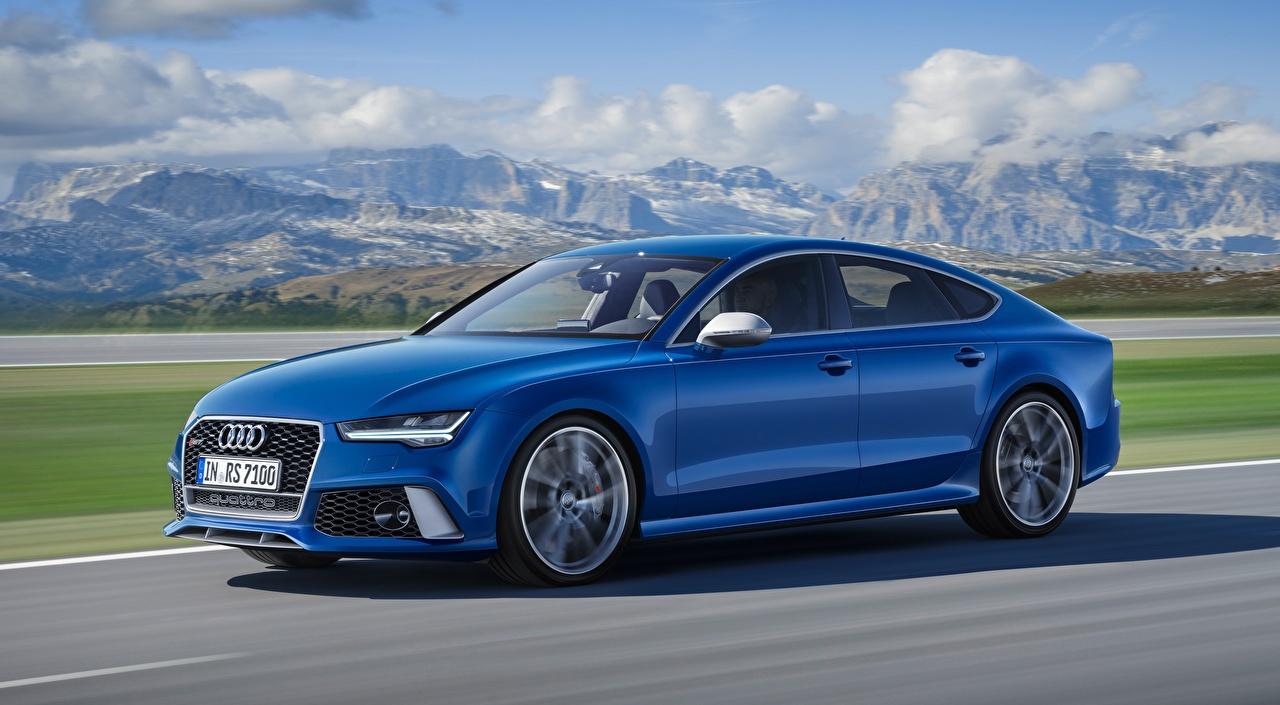 Bilder von Audi Bokeh Blau Bewegung auto Seitlich unscharfer Hintergrund fährt fahren fahrendes Geschwindigkeit Autos automobil